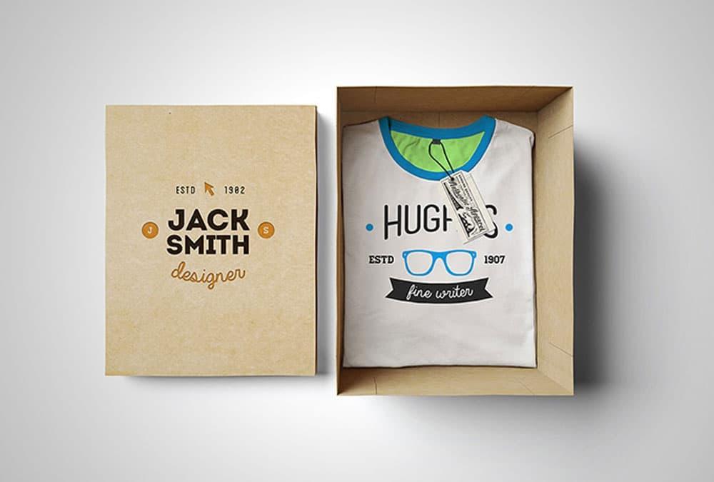 Free Boxed T-Shirt PSD Mockup