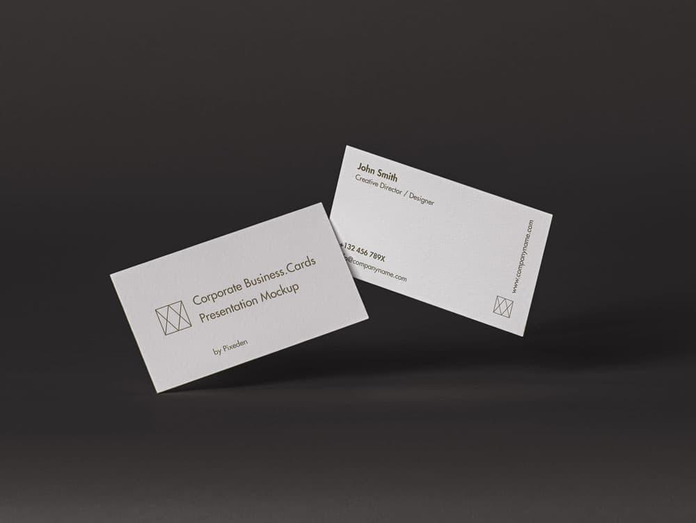 Free Corporate Business Cards Mockup Scene