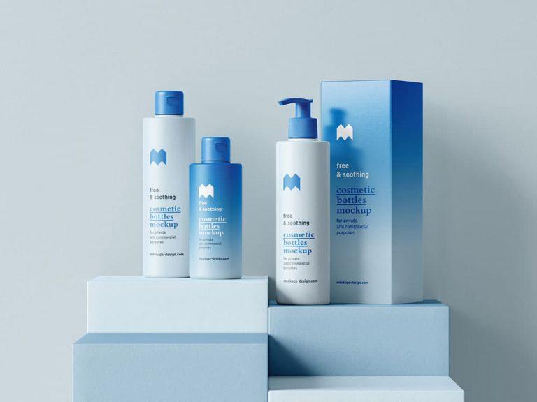 Free Cosmetics Bottles Packaging Mockup