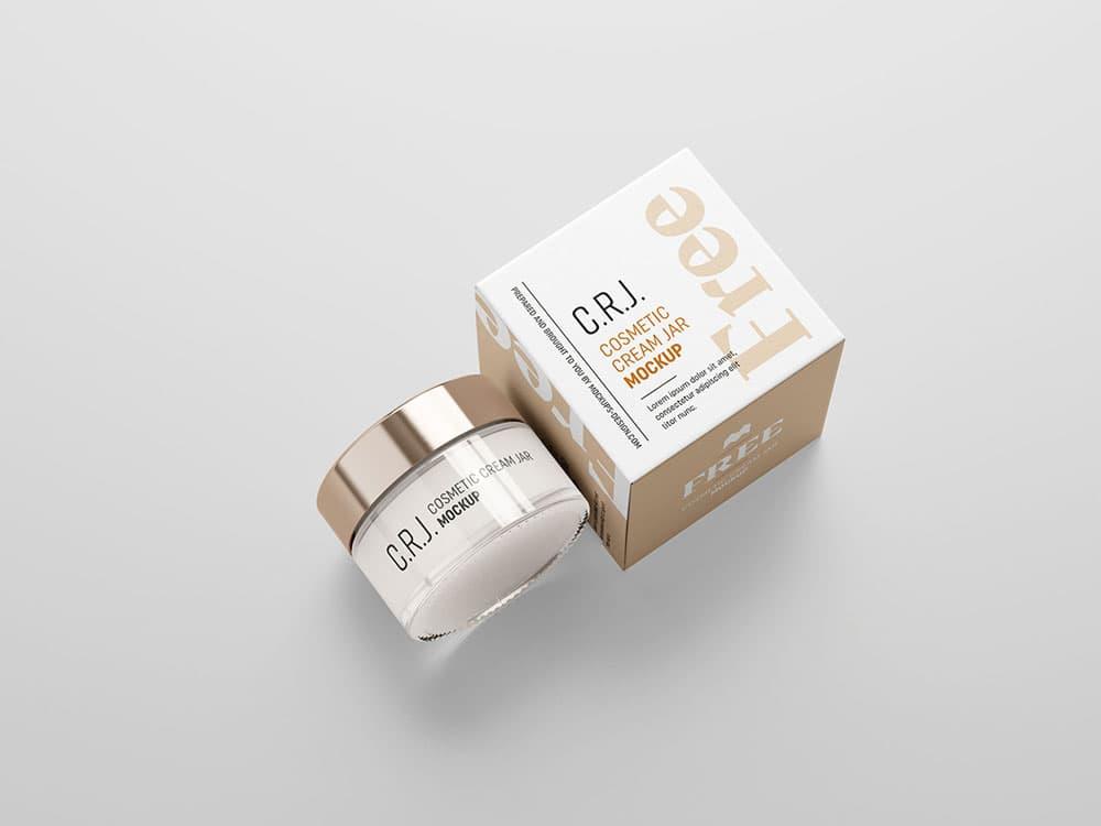 Free Cosmetics Jar & Packaging PSD Mockup