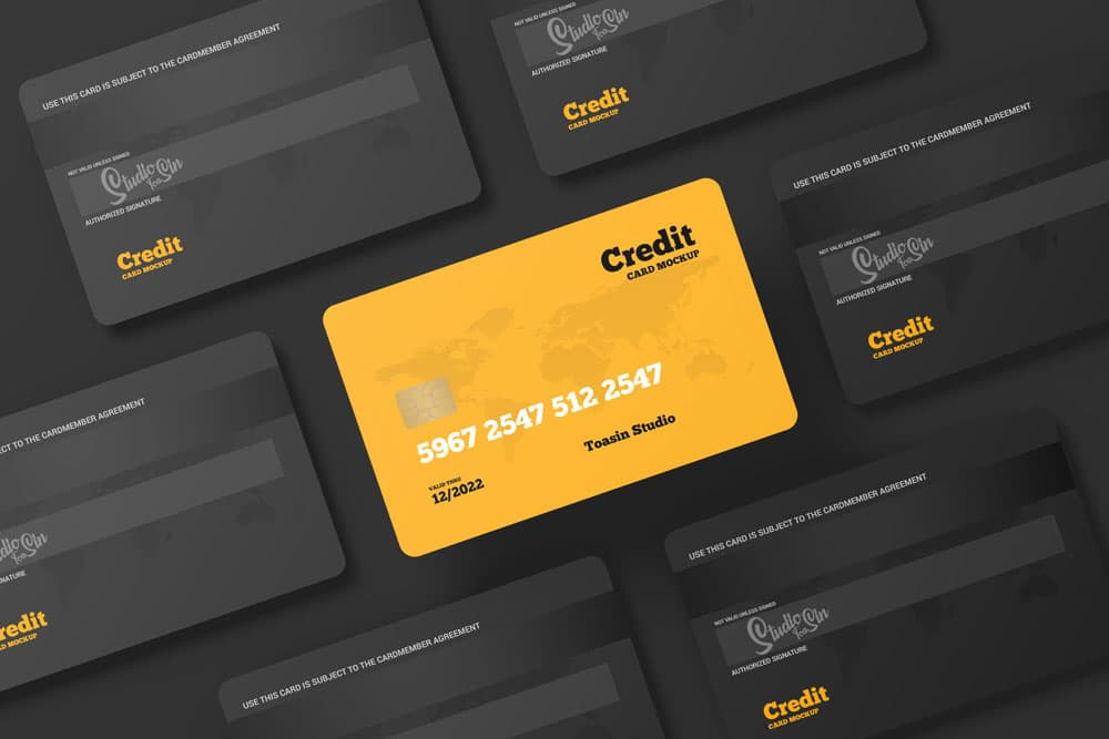 Free Credit and Gift Cards PSD Mockup