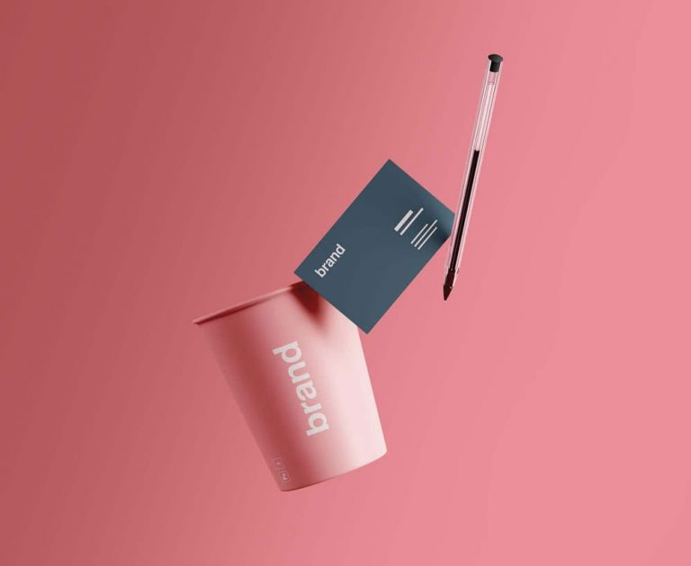 Free Cup & Business Card Branding PSD Mockup