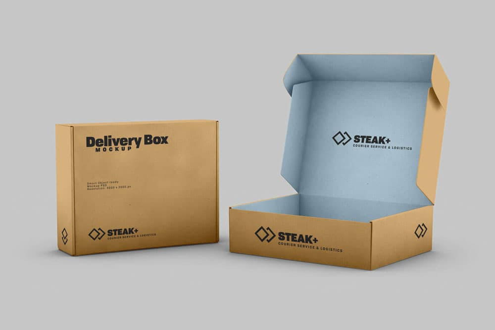 Free Delivery Shipping Box PSD Mockup