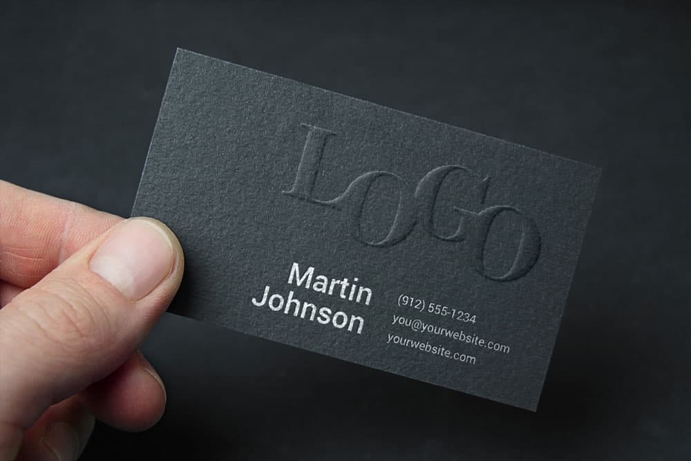 Free Embossed Business Card PSD Mockup