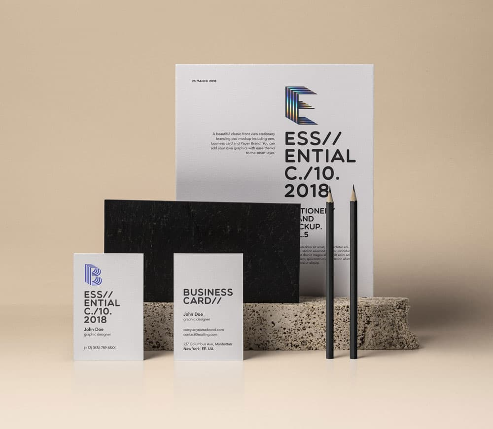 Free Essential Stationery Branding PSD Mockup