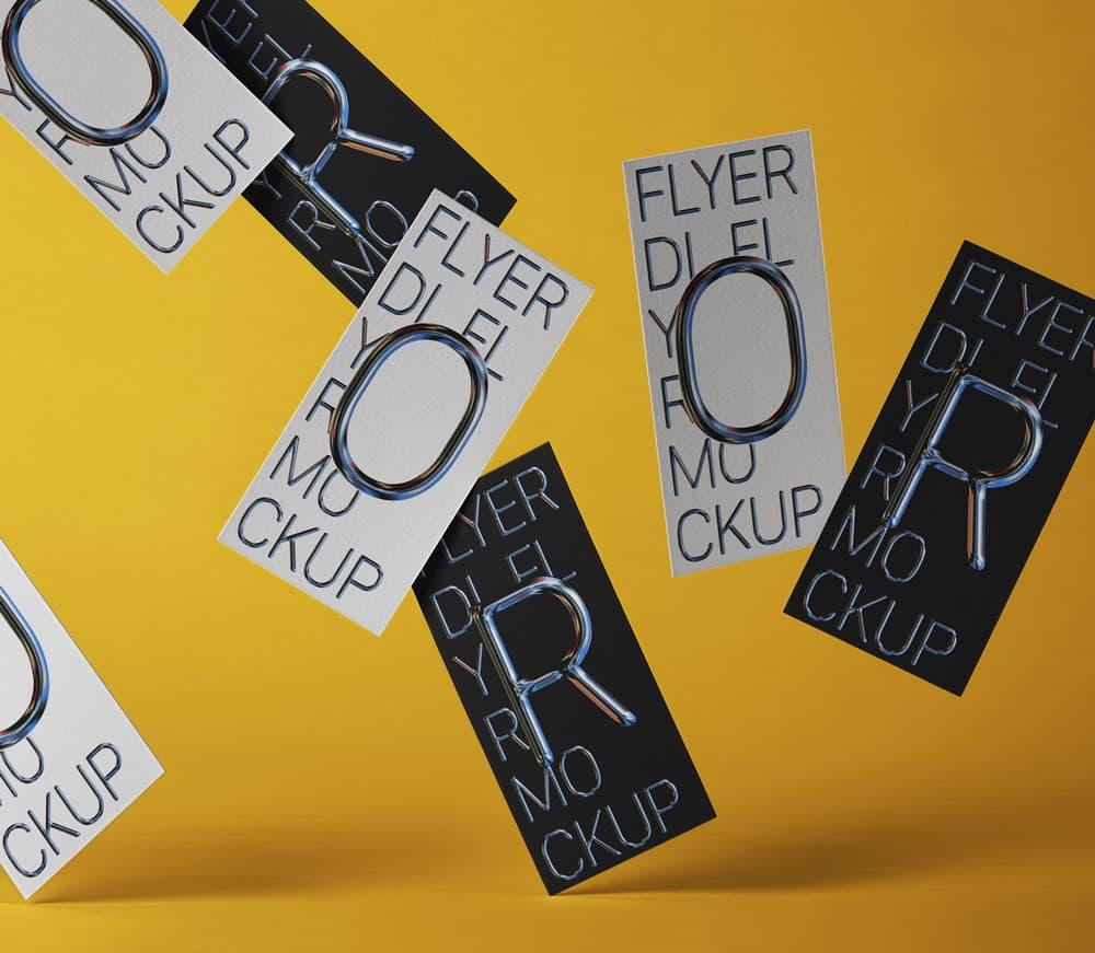 Free Falling Flyer PSD Mockup