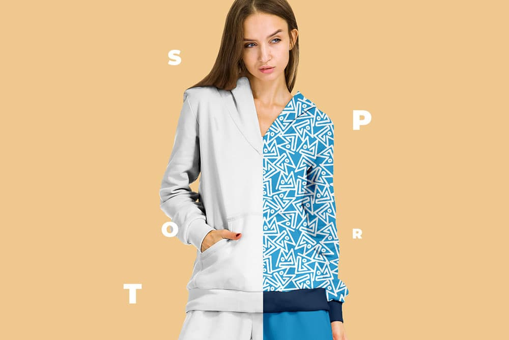 Free Female Sport Suit PSD Mockup