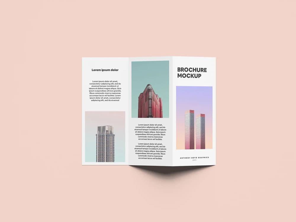 Free Folded Brochure PSD Mockup