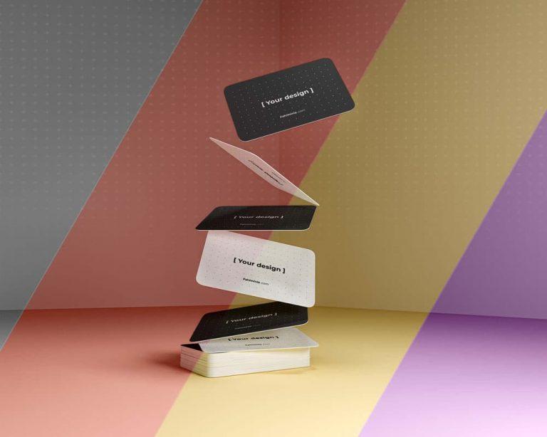 Free Gravity Business Cards PSD Mockup