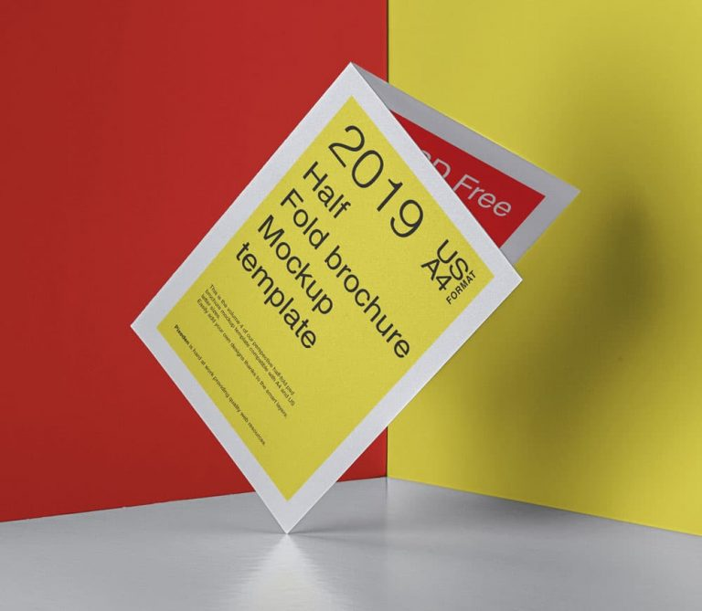 Free Half Fold Brochure PSD Mockup