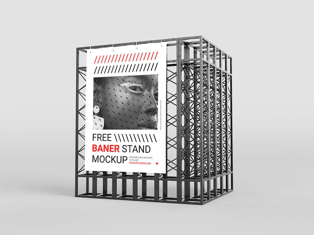 Free Industrial Banner Stand PSD Mockups