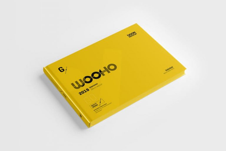 Free Landscape Hardcover Book PSD Mockup