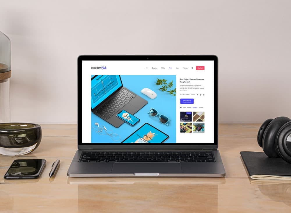 Free MacBook Pro on Desk PSD Mockup