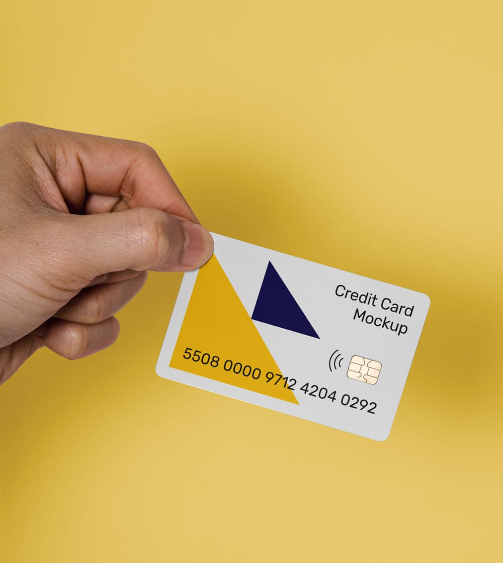 Free Man Holding Credit Card Mockup