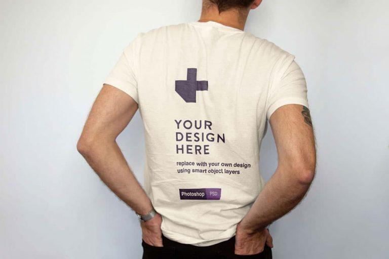 Free Men Backside T-Shirt PSD Mockup