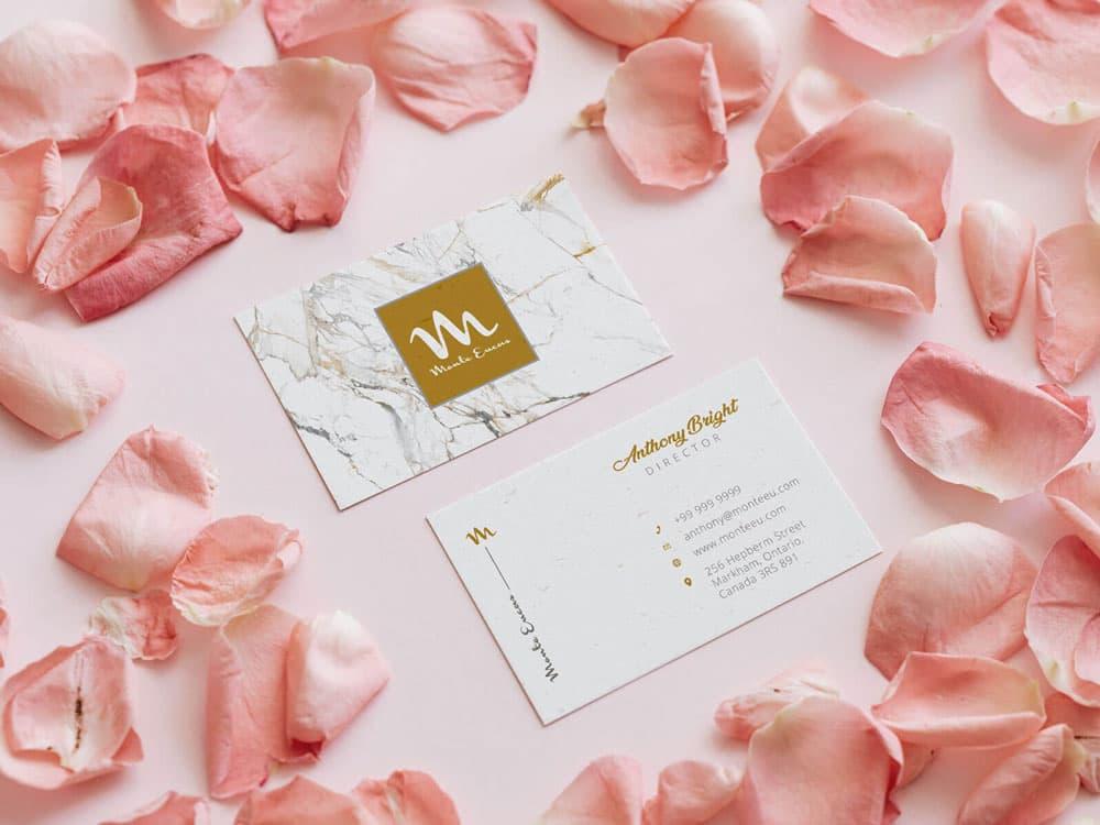 Free Pink Rose Business Card Mockup