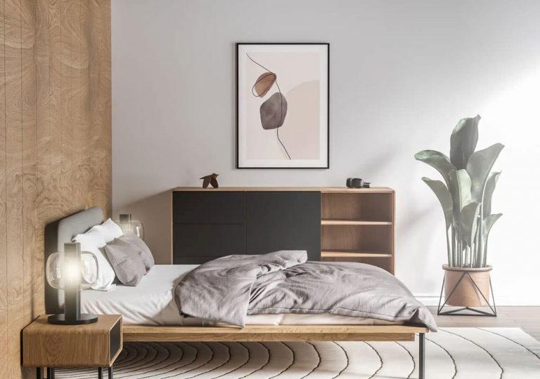 Free Poster Bedroom Scene PSD Mockup