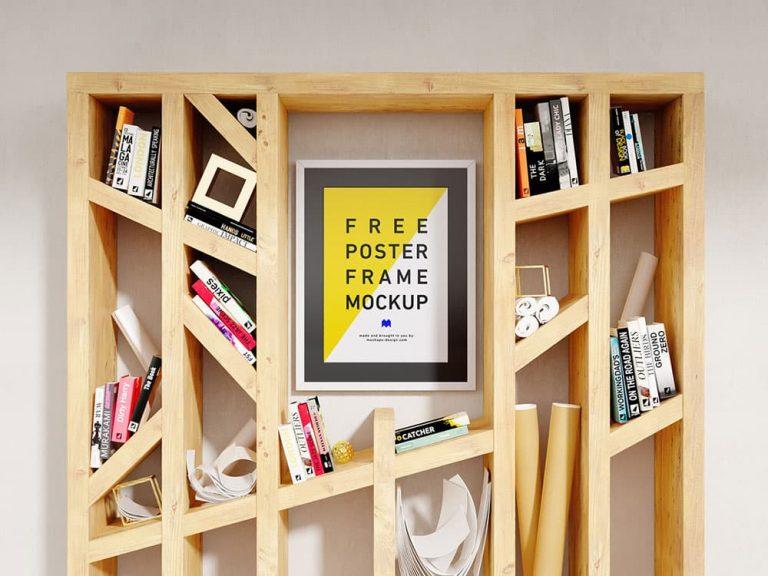 Free Poster Shelf PSD Mockup