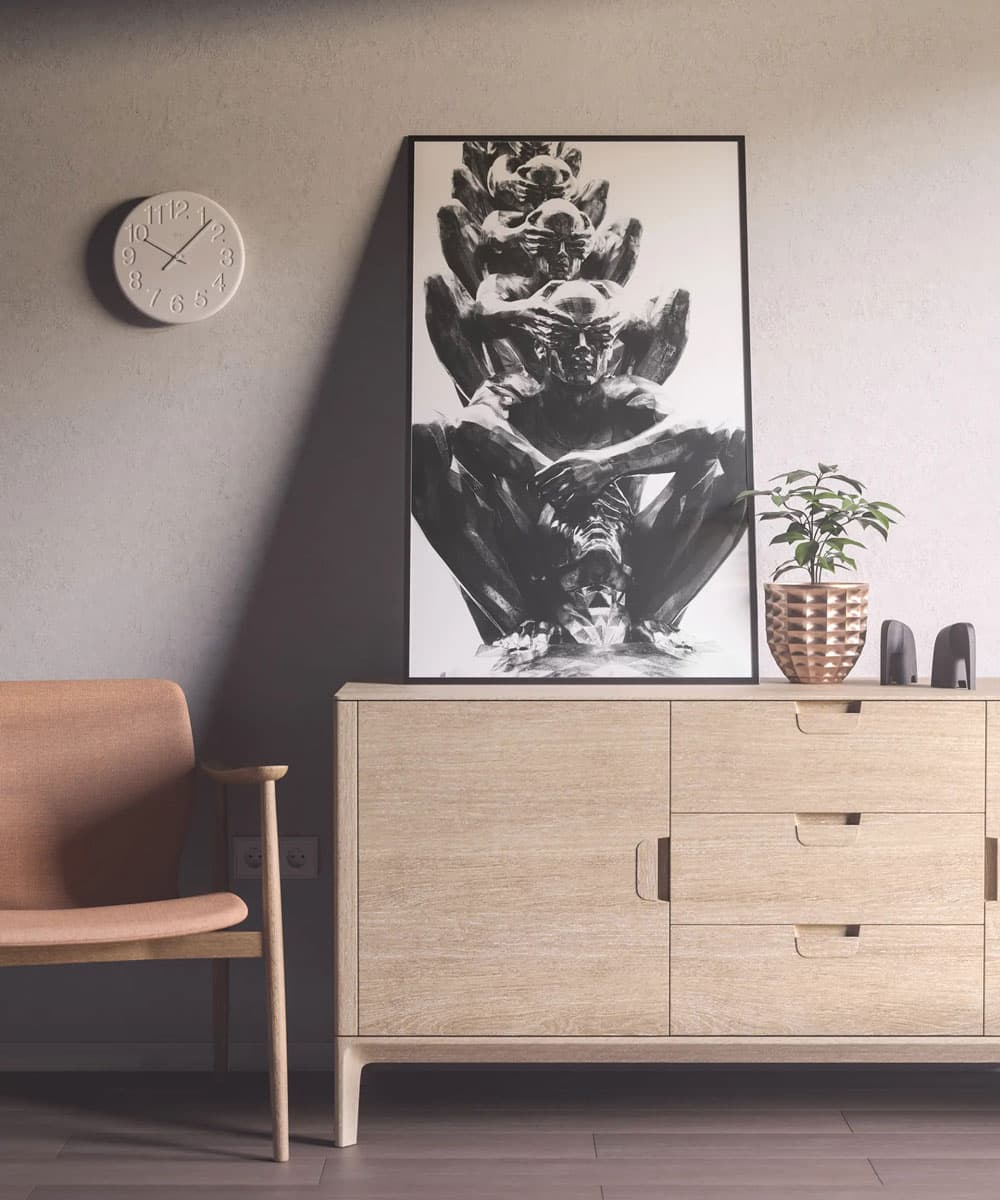 Free Poster on Sideboard PSD Mockup
