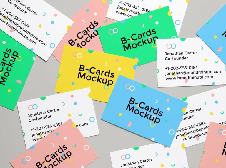 Free Realistic Business Cards PSD Mockup