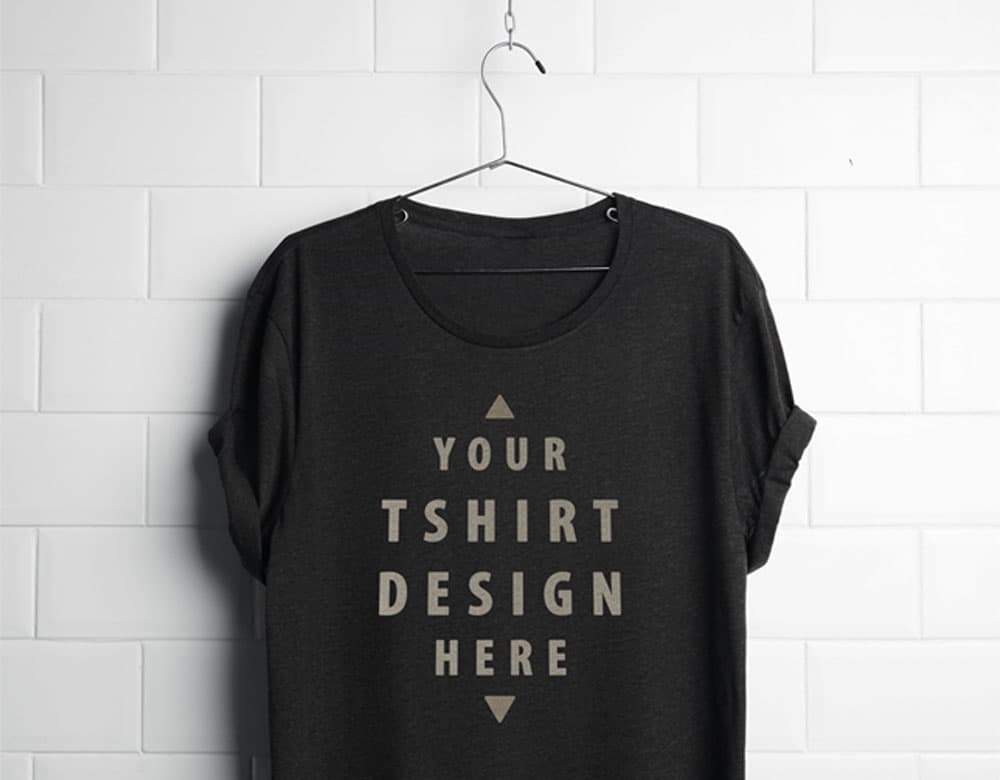 Free Realistic Hanging T-Shirt PSD Mockup
