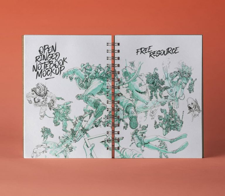 Free Ringed Sketchbook PSD Mockup