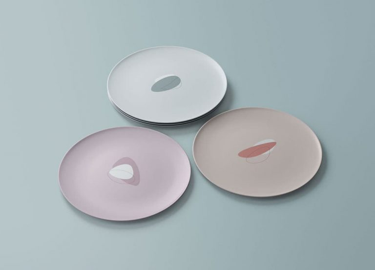 Free Round Dishes PSD Mockup