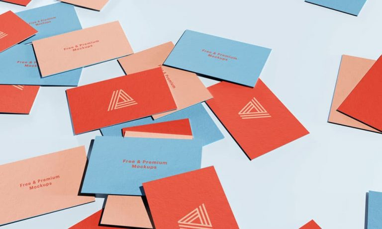 Free Scattered Business Cards Mockup