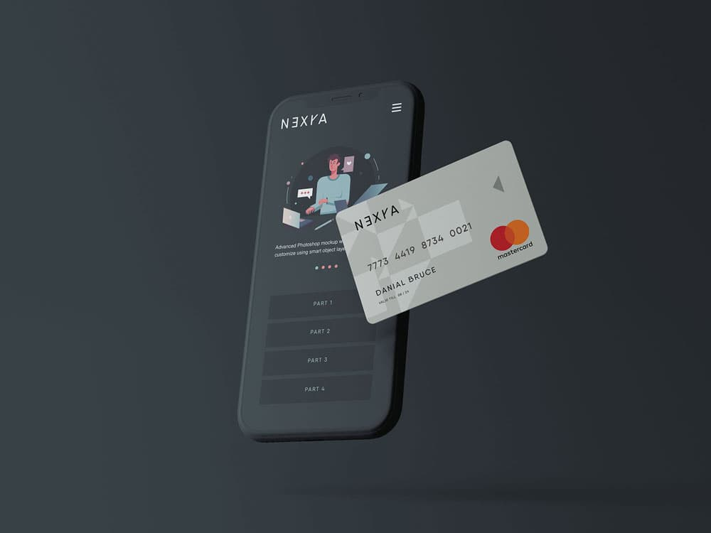 Free Smartphone & Credit Card PSD Mockup
