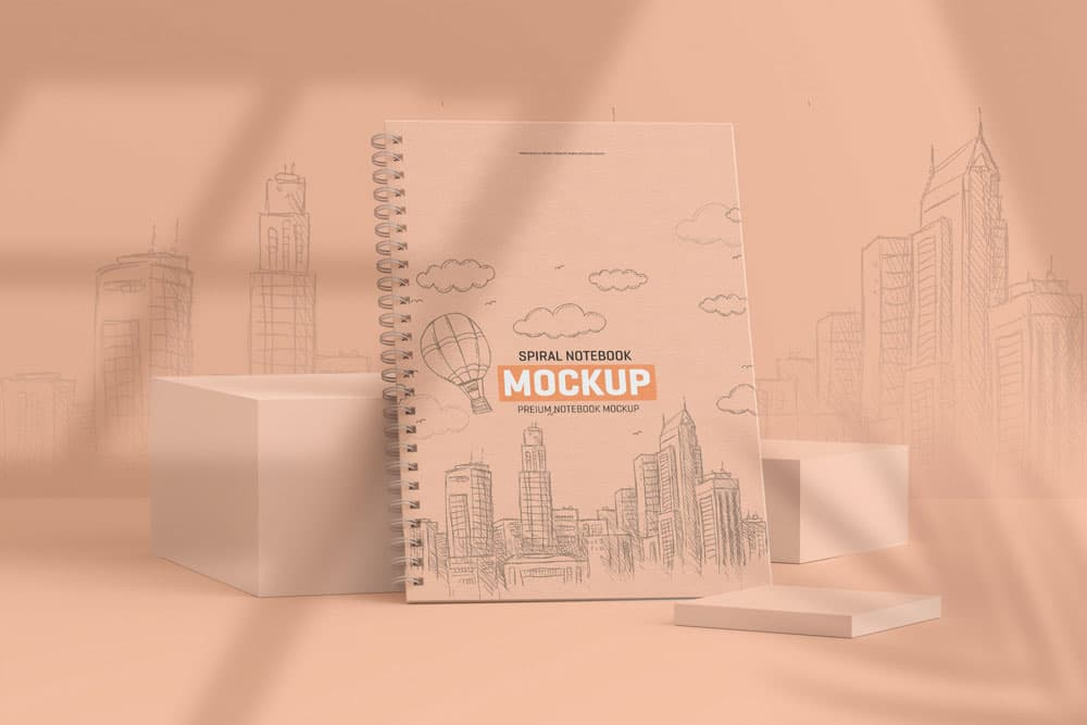 Free Spiral Notebook PSD Mockup