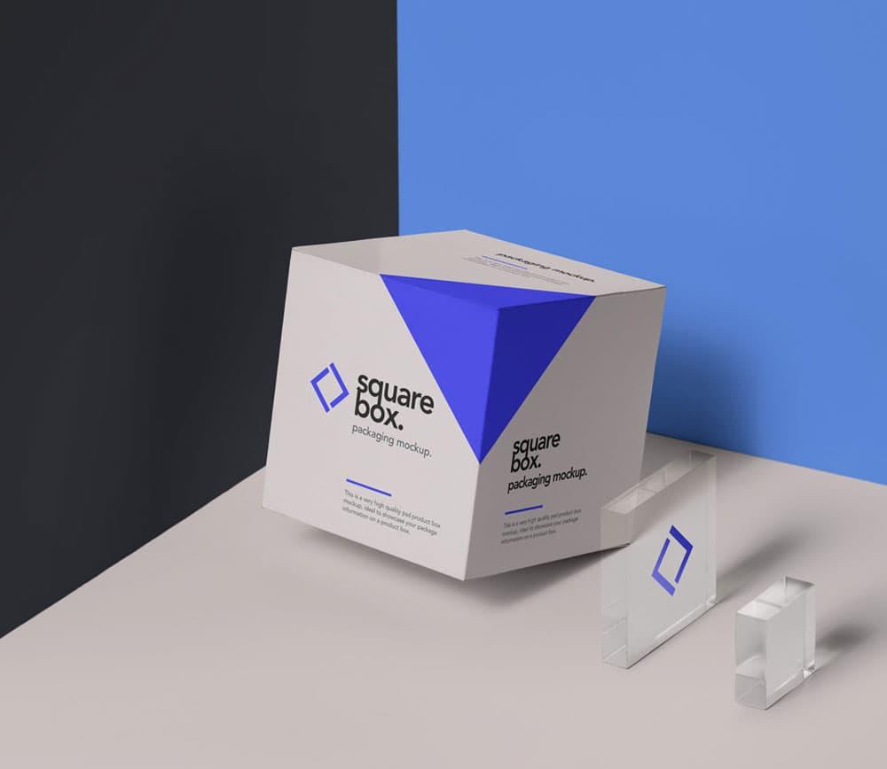Free Square Box Packaging PSD Mockup