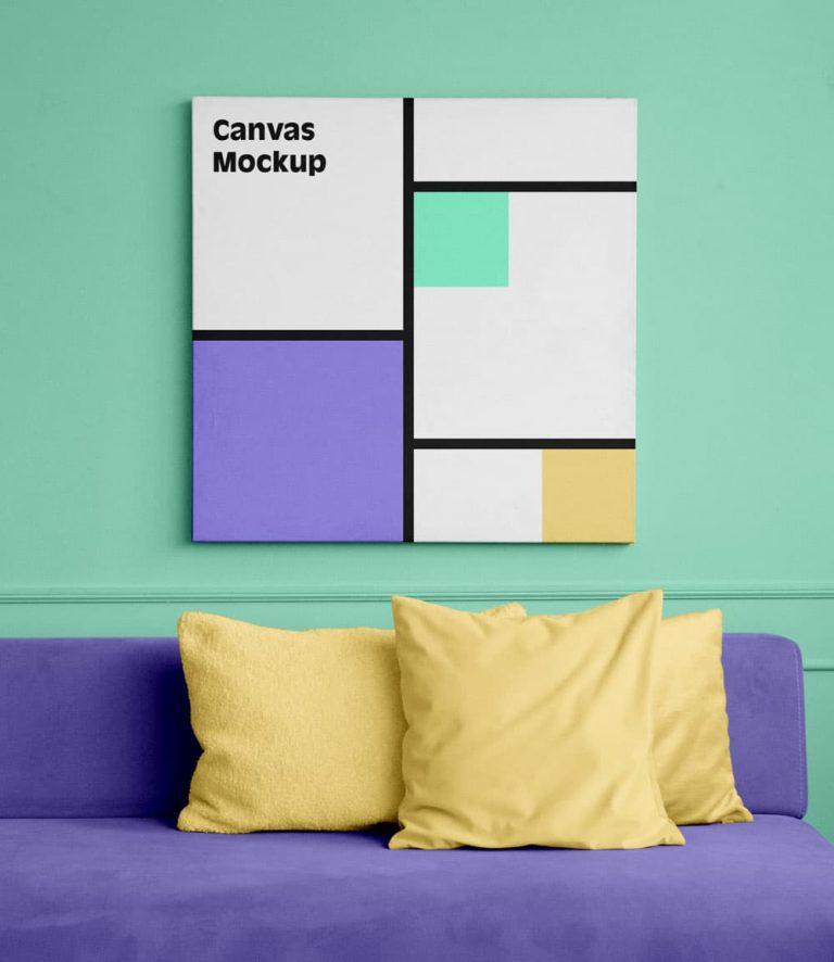 Free Square Canvas PSD Mockup