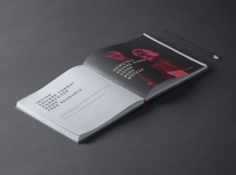 Free Square Hardcover Book PSD Mockup