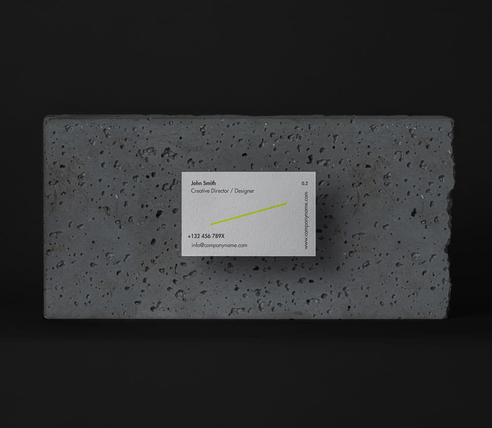 Free Stone Business Cards Mockup