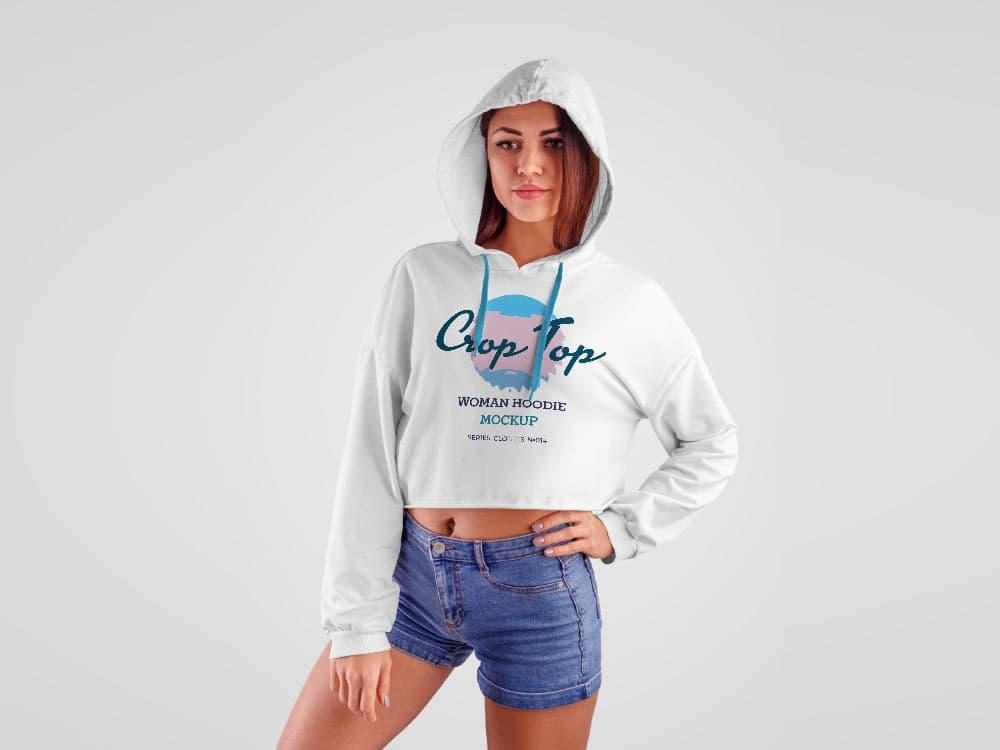 Free Women Crop Top Hoodie PSD Mockup