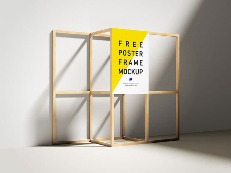 Free Wooden Frame Poster PSD Mockup