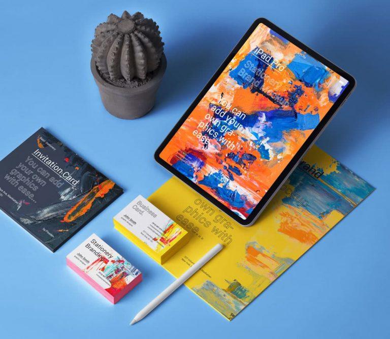 Free iPad Stationery Branding PSD Mockup