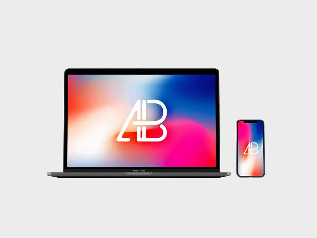 Front View iPhone X and Macbook Pro Free PSD Mockup