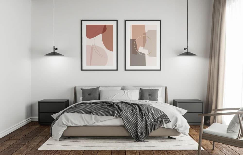 Two Poster Bedroom Scene Free PSD Mockup